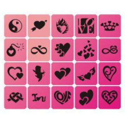 Набор трафаретов для био-тату Valentine 20 шт.