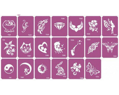 Набор трафаретов для био-тату Mix-2  20 шт.