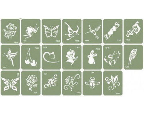 Набор трафаретов для био-тату Mix-3  20 шт.