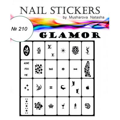 """Трафарети для нігтів """"Гламур"""" №210"""
