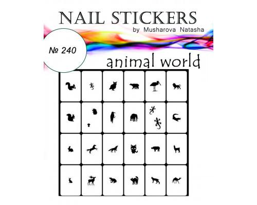 """Трафареты для ногтей """"Животный мир"""" №240"""