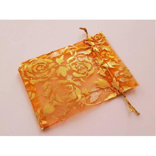 Мешочки из органзы в разводах 7х9 см оранжевый