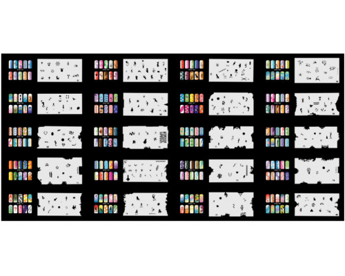 Набор многоразовых трафаретов для ногтей JFN 9