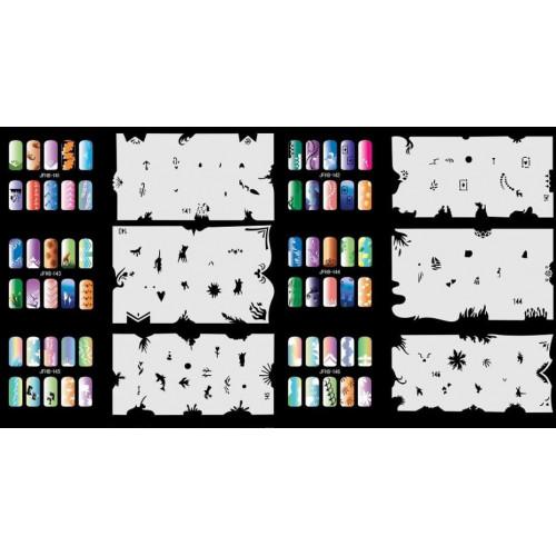 Набор многоразовых трафаретов для ногтей JFN 8
